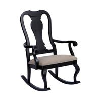 Tress Rocking Chair In Black With Natural Linen Product Image