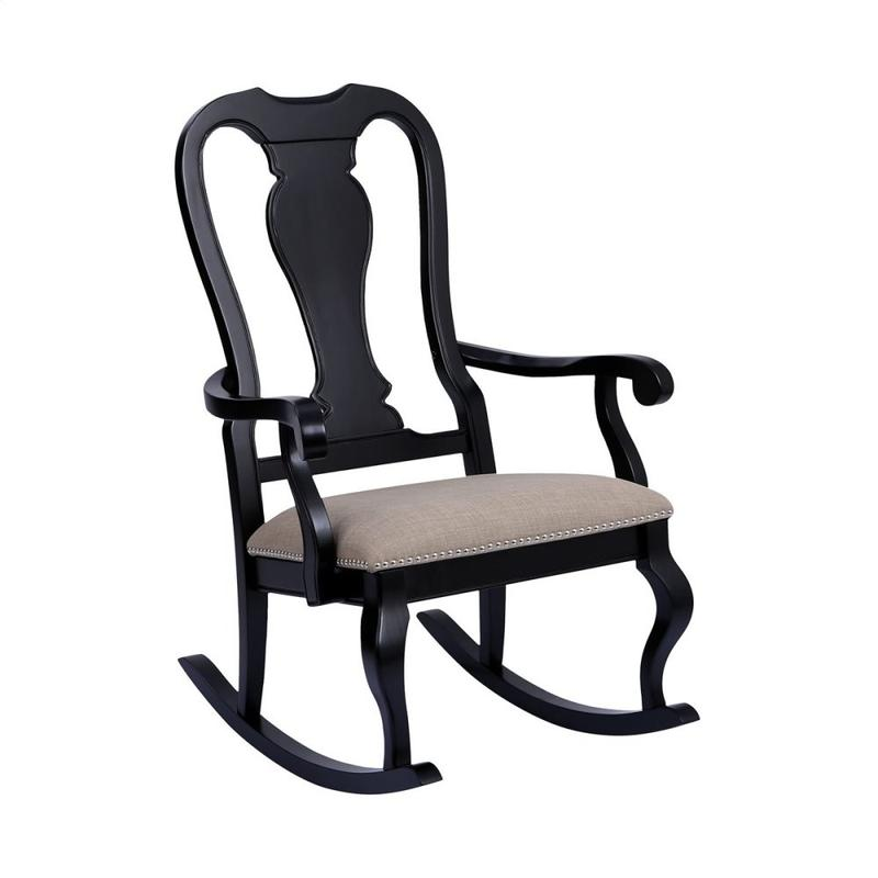 Tress Rocking Chair In Black With Natural Linen
