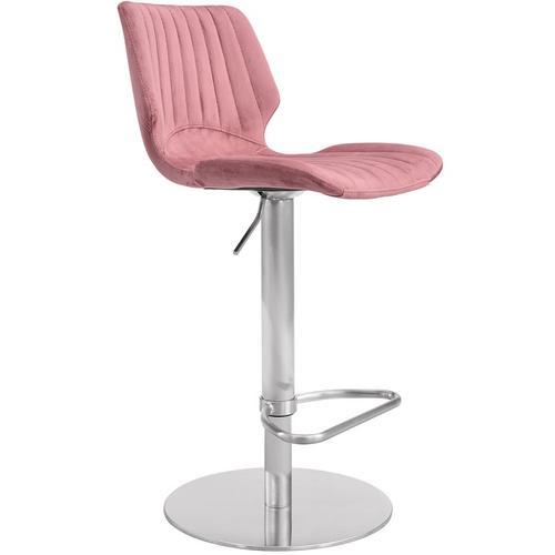 Armen Living - Anika Adjustable Swivel Barstool with Brushed Stainless Steel Finish and Pink Velvet
