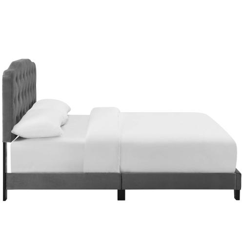 Amelia Twin Performance Velvet Bed in Gray