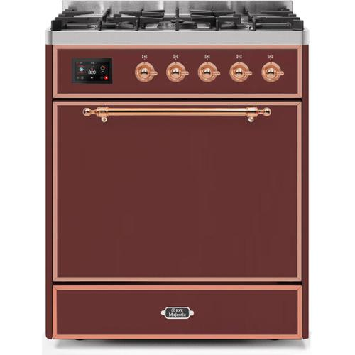Ilve - Majestic II 30 Inch Dual Fuel Natural Gas Freestanding Range in Burgundy with Copper Trim