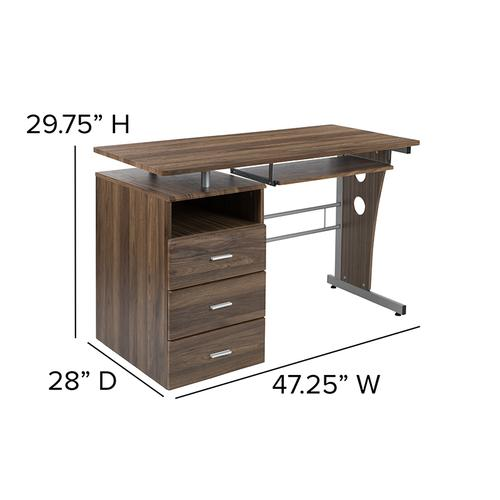 Flash Furniture - Rustic Walnut Desk with Three Drawer Pedestal and Pull-Out Keyboard Tray