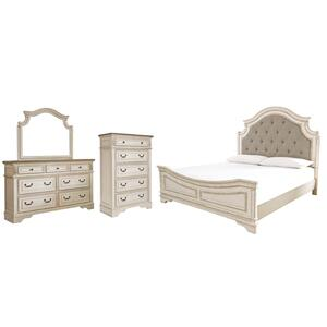 Queen Upholstered Panel Bed With Mirrored Dresser and Chest