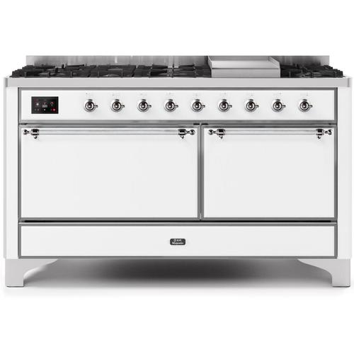 Majestic II 60 Inch Dual Fuel Natural Gas Freestanding Range in White with Chrome Trim