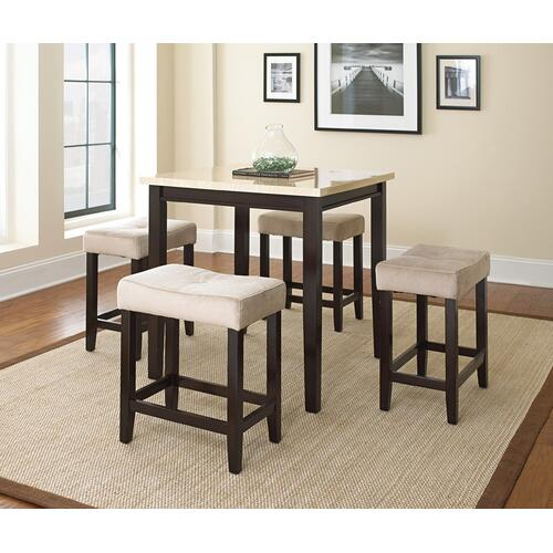 "Aberdeen 5 Pc Counter Set, T-36""x36""x36"", C-21""x14""x24"""