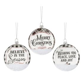 B & W Gingham Farm - Ornaments (6 pc. ppk.)