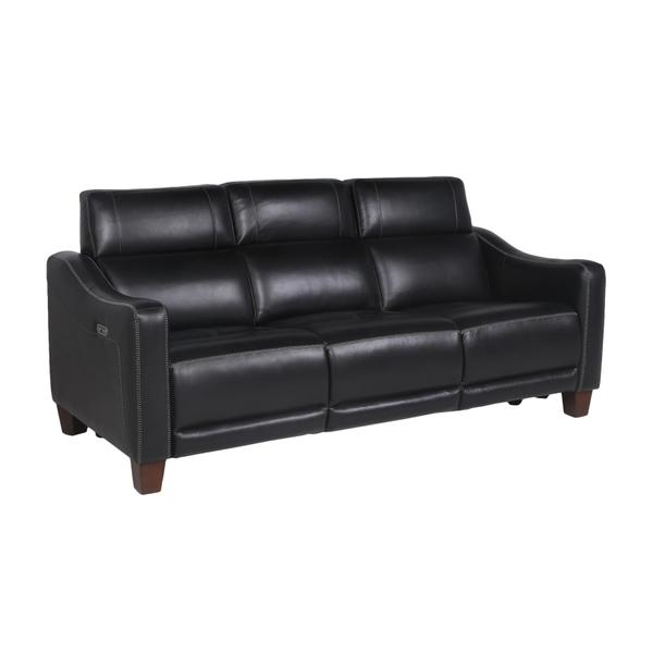 See Details - Giorno Dual-Power Leather Sofa, Midnight