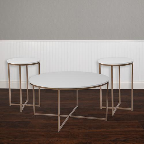 Flash Furniture - Hampstead Collection 3 Piece Coffee and End Table Set in White with Matte Gold Frames