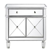 1 Drawer 2 Door Cabinet 32 in. x 16 in. x 32 in. in Silver Clear