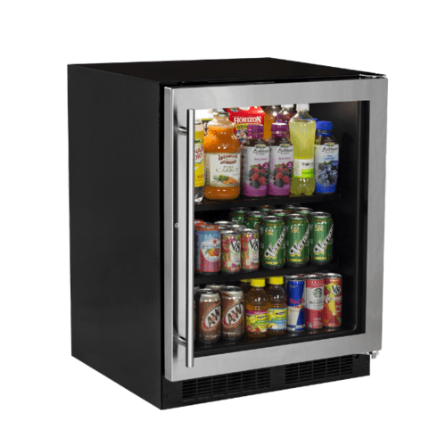 View Product - 24-In Low Profile Built-In High-Capacity Refrigerator with Door Style - Stainless Steel Frame Glass