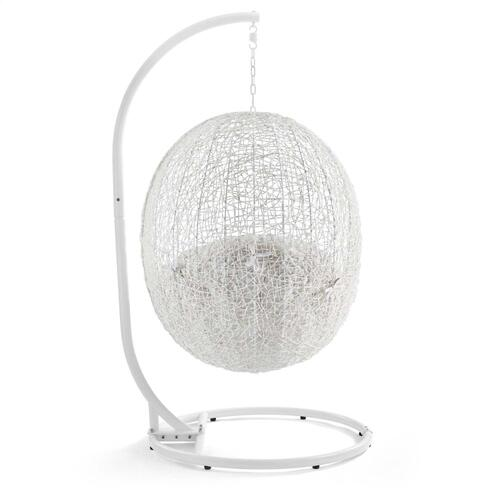 Modway - Hide Outdoor Patio Sunbrella® Swing Chair With Stand in White White