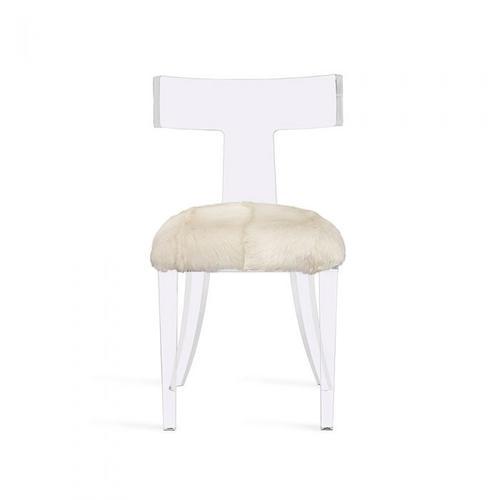 Tristan Acrylic Klismos Chair-Ivory Goat