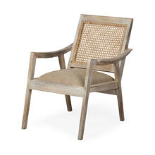 Teryn Cream Linen Seat And Natural Wooden Base w/ Mesh Back Accent Chair