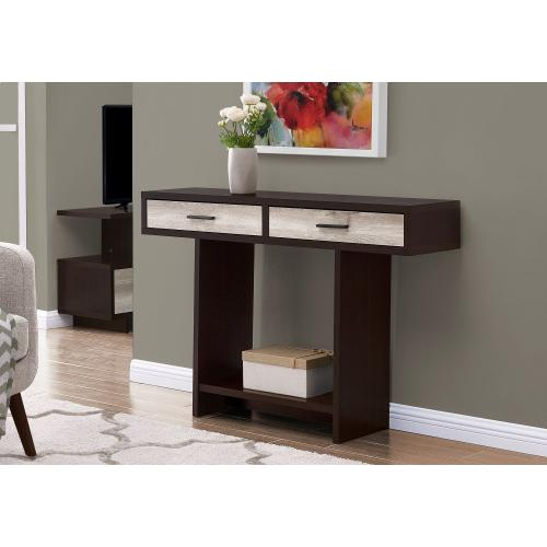 """ACCENT TABLE - 48""""L / ESPRESSO / TAUPE RECLAIMED WOOD"""