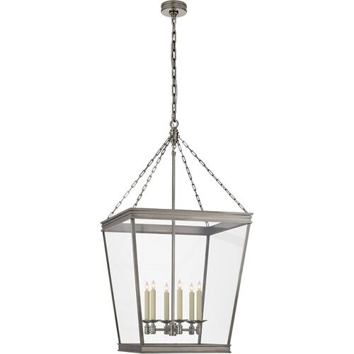Visual Comfort CHC5612AN-CG E. F. Chapman Launceton 4 Light 24 inch Antique Nickel Foyer Lantern Ceiling Light, Large Square
