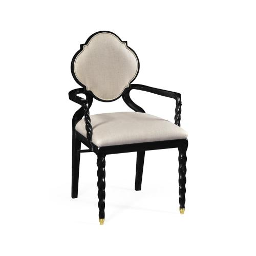 Black Barleytwist Dining Arm Chair, Upholstered in MAZO