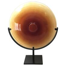 Miramar Short Amber Blown Glass Disc with Stand