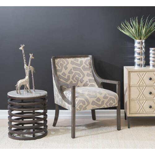 Marble Top and Metal Frame Side Table, Bronze and Grey
