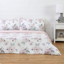 Dreamit - Duvet Cover Watercolor Floral, White and Pink, Full