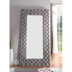 Lacey Upholstered Floor Mirror Gray