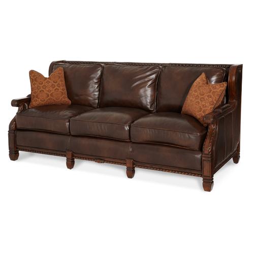 Wood Trim Leather/Fabric Sofa - Opt1
