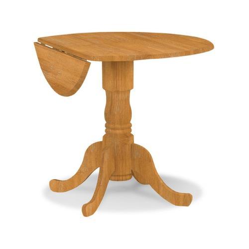 Round Dropleaf Pedestal Table