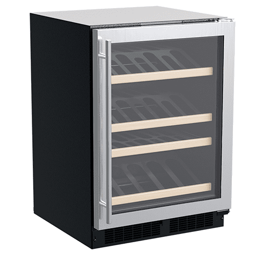 Marvel - 24-In Built-In High-Efficiency Single Zone Gallery Display Wine Refrigerator with Door Style - Stainless Steel Frame Glass