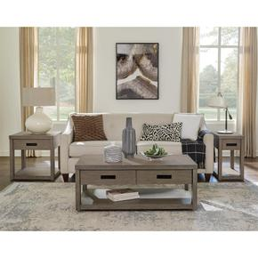 Riata Gray - Chairside Table - Gray Wash Finish