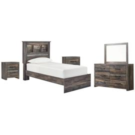 Twin Bookcase Bed With Mirrored Dresser and 2 Nightstands