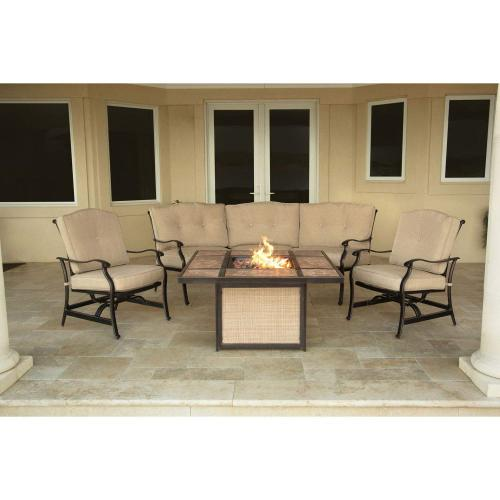 Hanover Traditions 4-Piece Outdoor Lounge Set with Tile-top Fire Pit, TRADTILE4PCFP