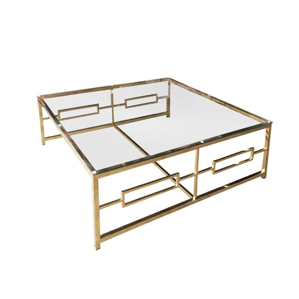 Stainless Steel/glass Cocktail Table, Gold, Kd