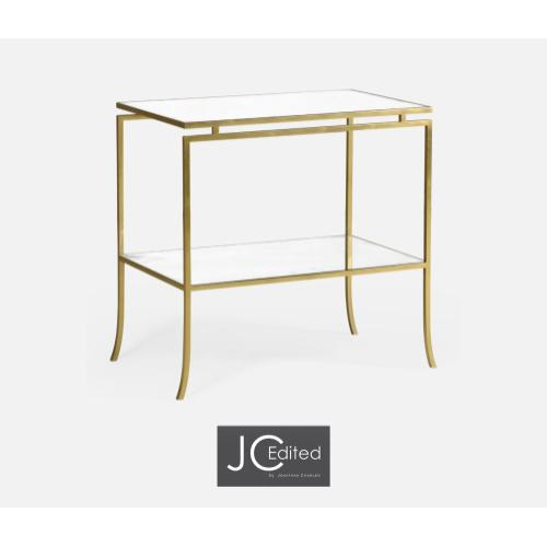 Gilded Iron Rectangular Side Table with An Antique Glass Top