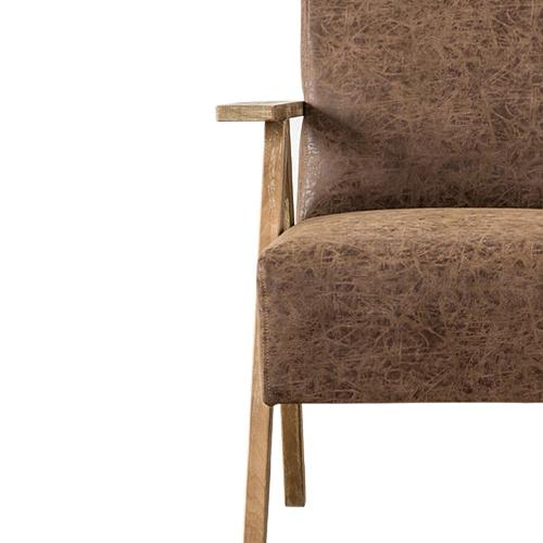 Spencer PU Accent Chair Brushed Smoke Frame, Nubuck Chocolate