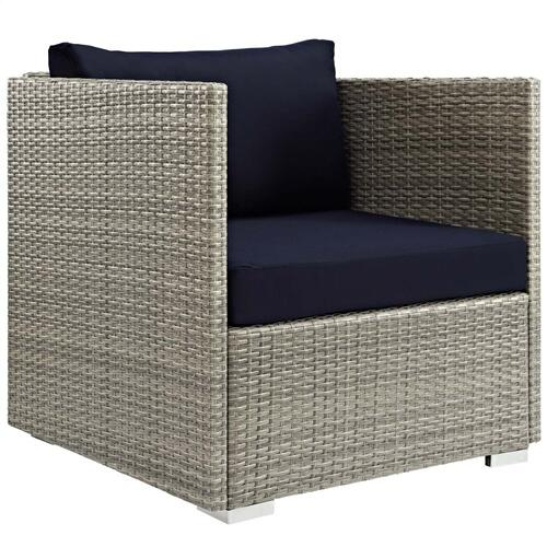 Repose 3 Piece Outdoor Patio Sunbrella® Sectional Set in Light Gray Navy