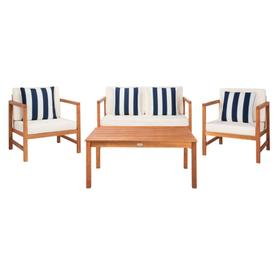 Montez 4 PC Outdoor Set With Accent Pillows - Natural / Beige / Navy & White