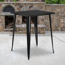 "Commercial Grade 31.5"" Square Black Metal Indoor-Outdoor Bar Height Table"