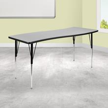 "26""W x 60""L Rectangular Wave Collaborative Grey Thermal Laminate Activity Table - Standard Height Adjustable Legs"