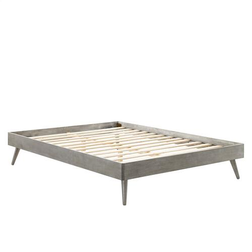 Margo Twin Wood Platform Bed Frame in Gray