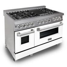 ZLINE 48 in. Professional Dual Fuel Range in DuraSnow® Stainless Steel with White Matte Door (RAS-WM-48)