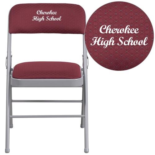 Embroidered HERCULES Series Triple Braced Burgundy Patterned Fabric Upholstered Metal Folding Chair