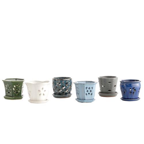 """Skyline 4"""""""" Orchid Pot assrtmnt w/attchd saucers 6 asst /carton Fits 4"""" pot (6 ttl pieces)"""