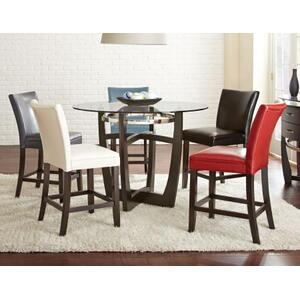Matinee Counter 5 Piece Set (Glass Counter Top Table & 4 Counter Chairs)