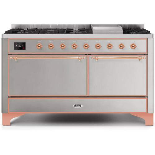 Majestic II 60 Inch Dual Fuel Natural Gas Freestanding Range in Stainless Steel with Copper Trim