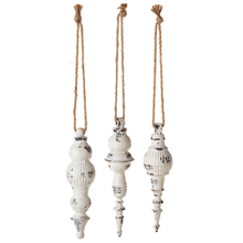 Mini White Distressed Finial (3 pc. ppk.)