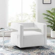 Booth Performance Velvet Swivel Armchair in White