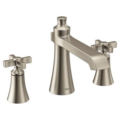 Flara brushed nickel two-handle roman tub faucet