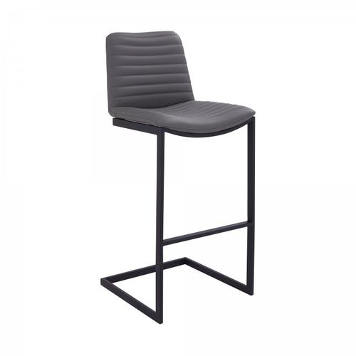 "Lucas Contemporary 26"" Counter Height Barstool in Black Powder Coated Finish and Grey Faux Leather"
