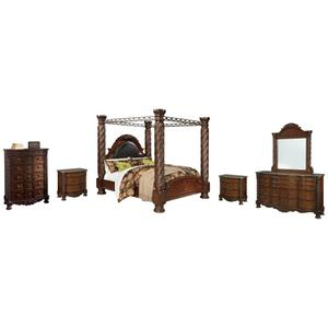 California King Poster Bed With Canopy With Mirrored Dresser, Chest and 2 Nightstands