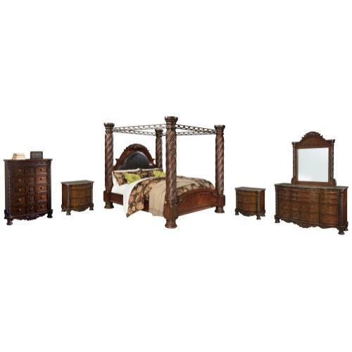 Product Image - California King Poster Bed With Canopy With Mirrored Dresser, Chest and 2 Nightstands