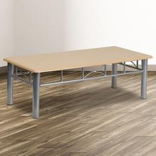 See Details - Natural Laminate Coffee Table with Silver Steel Frame